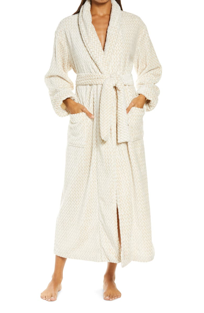 NATORI Plush Jaquard Robe, Main, color, FROSTED CAF