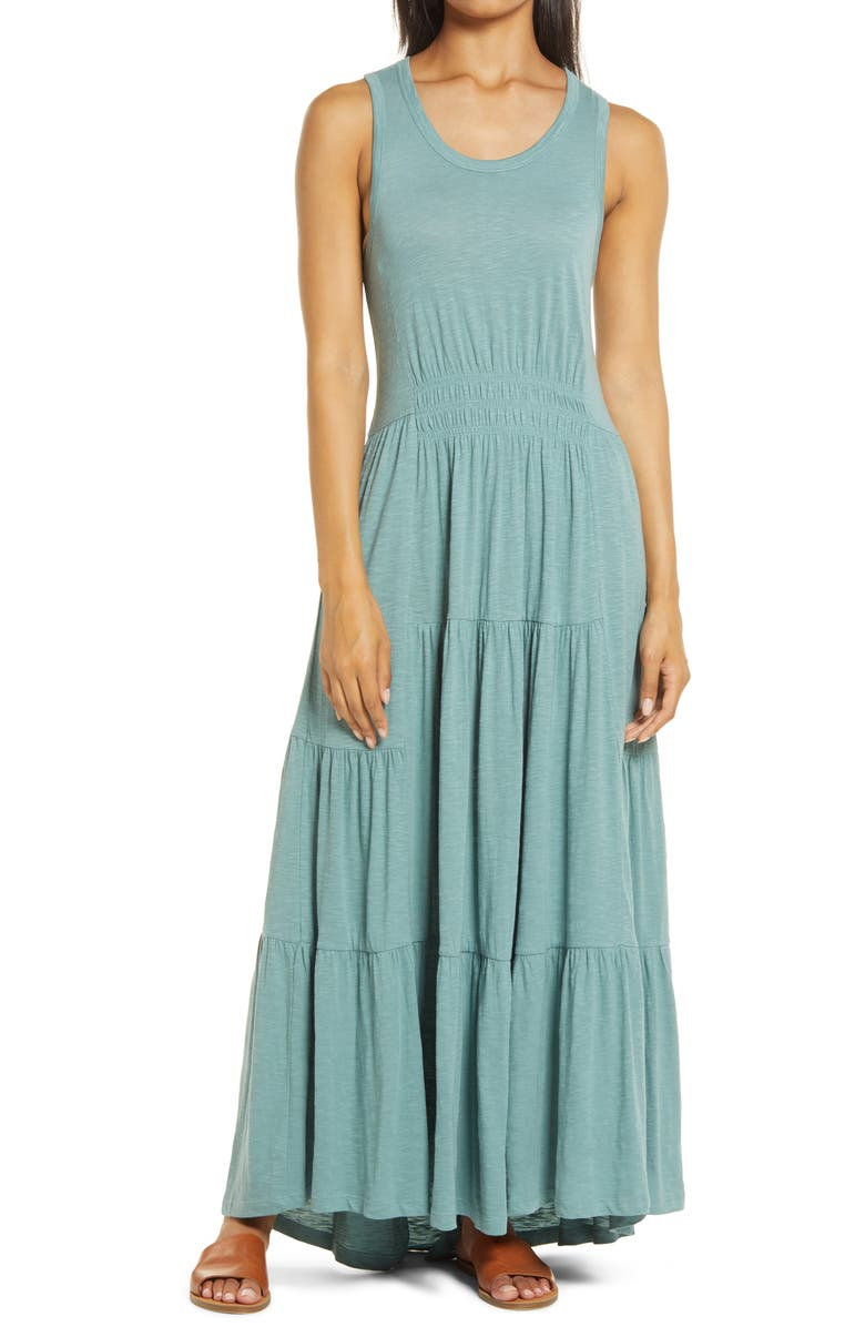 CASLON<SUP>®</SUP> Tiered Smocked Waist Jersey Maxi Dress, Main, color, 330