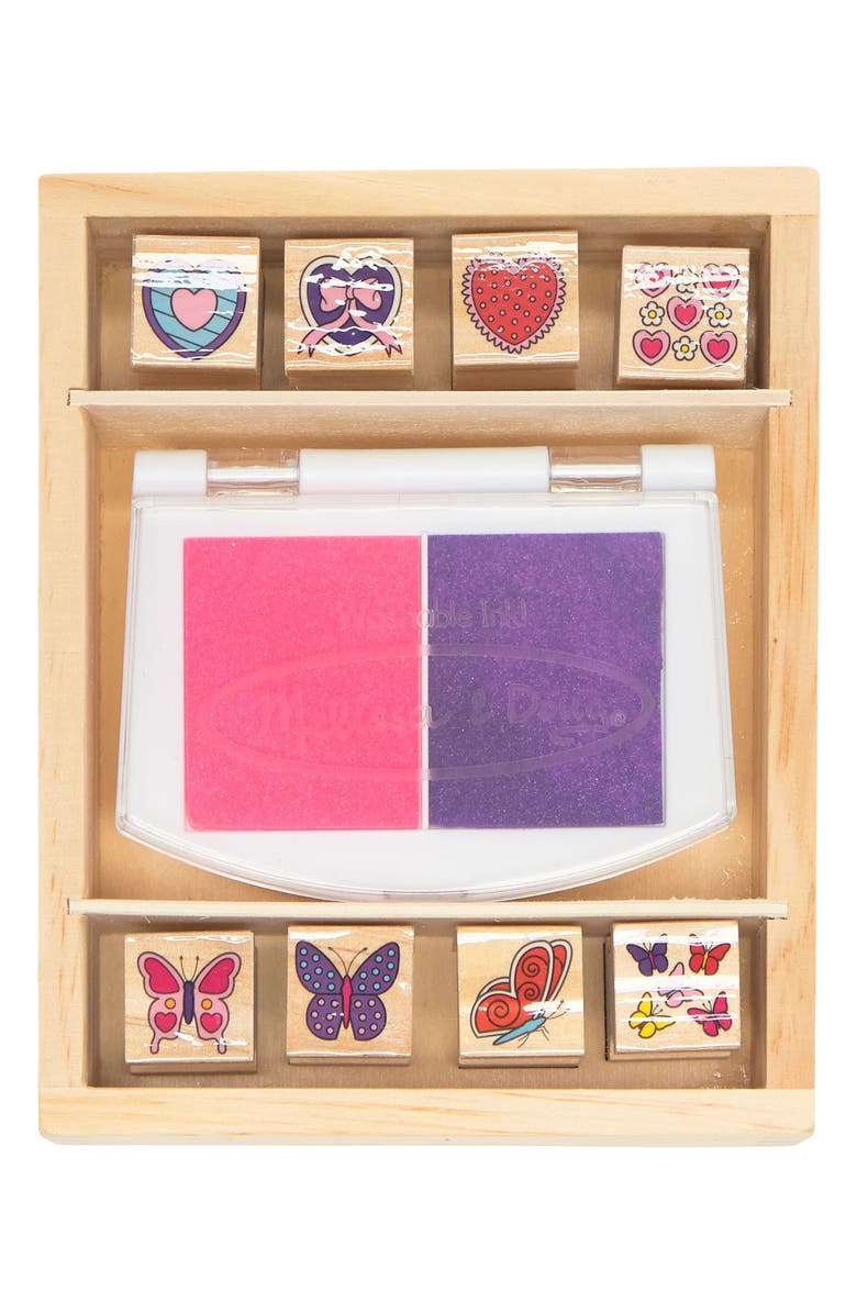 MELISSA AND DOUG Melissa & Doug Butterfly and Hearts Stamp Set, Main, color, MULTI