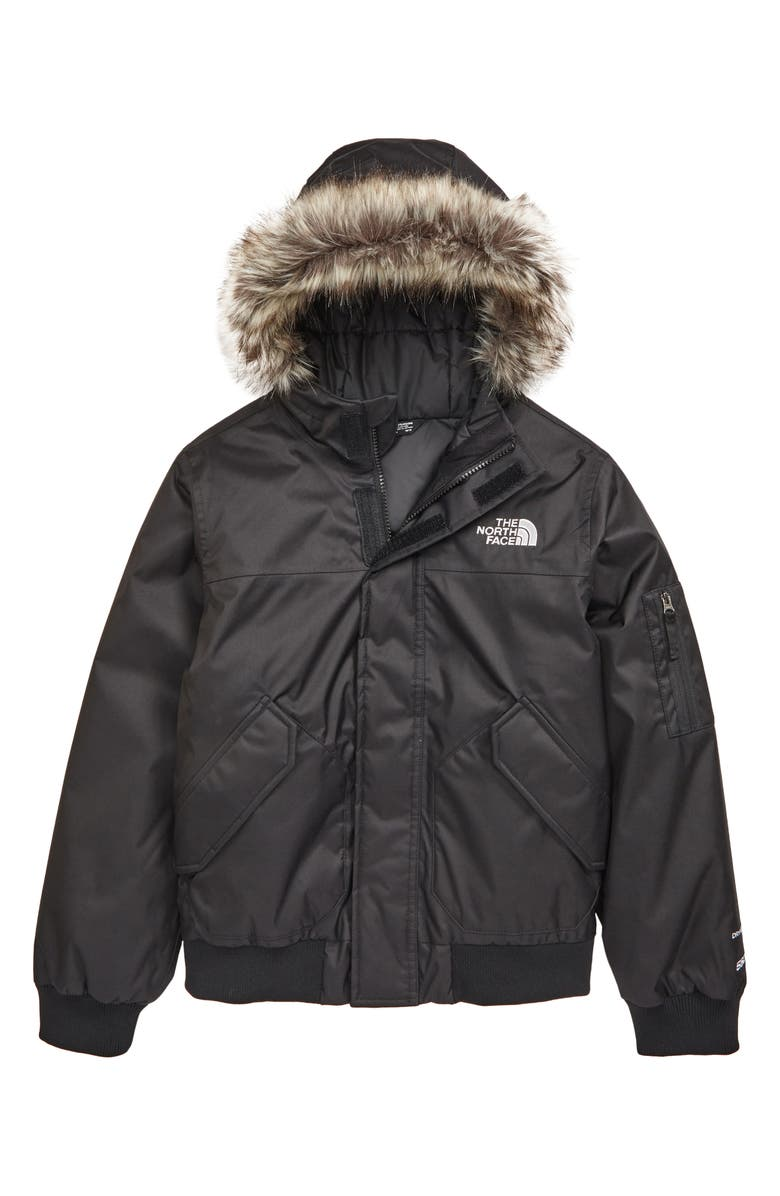 THE NORTH FACE Kids' Gotham Waterproof 550 Fill Power Down Jacket with Faux Fur Trim, Main, color, 001