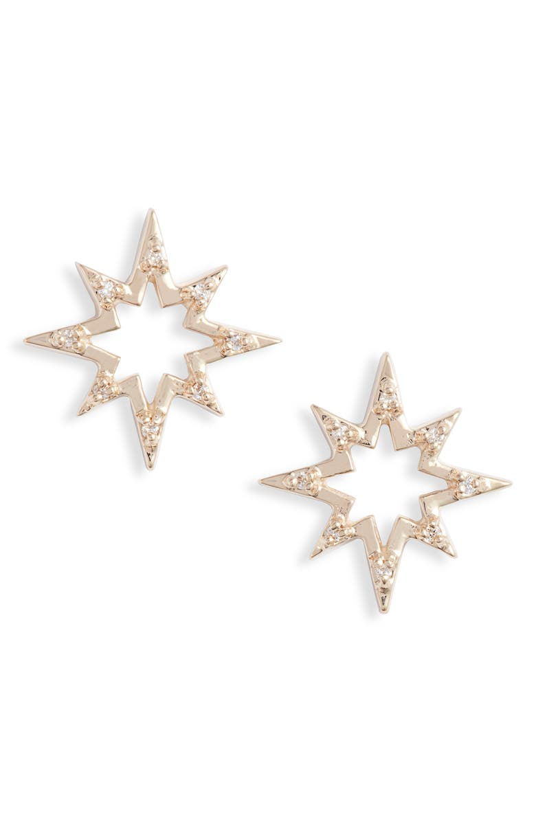 ANZIE Starburst Diamond Earrings, Main, color, YELLOW GOLD/ WHITE