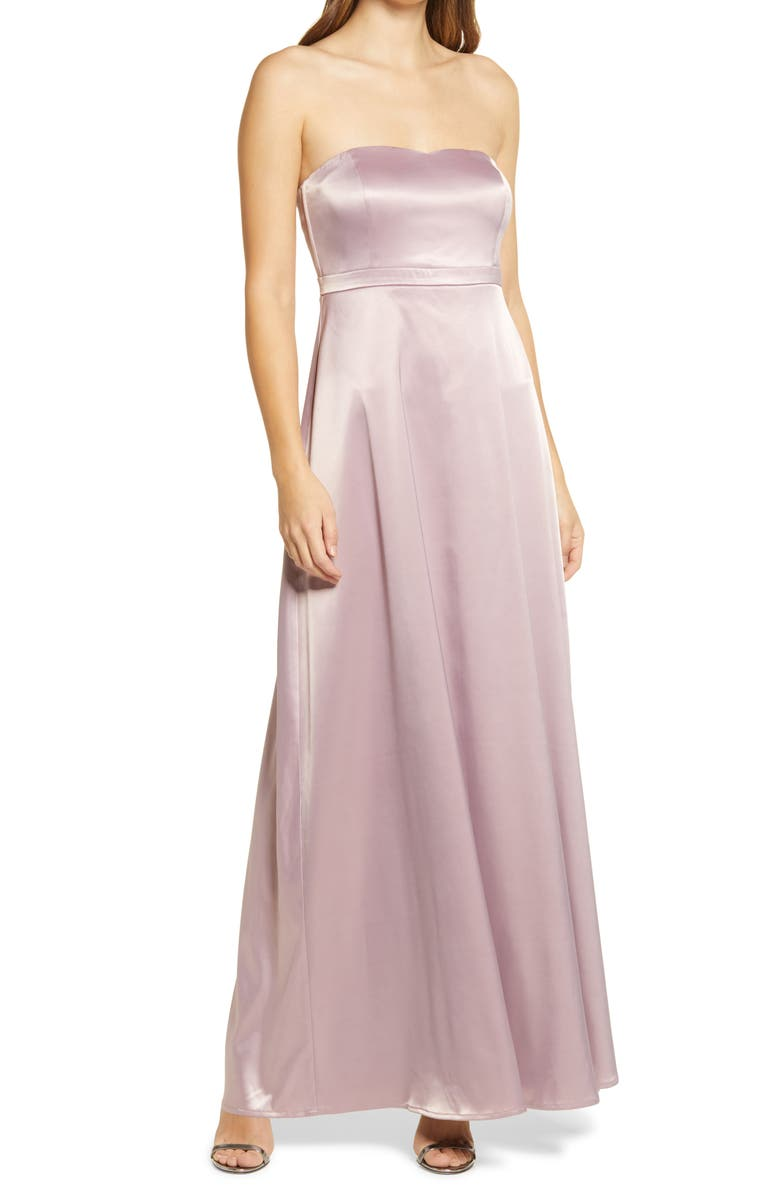LULUS These Are The Nights Strapless Satin Gown, Main, color, DUSTY LAVENDER
