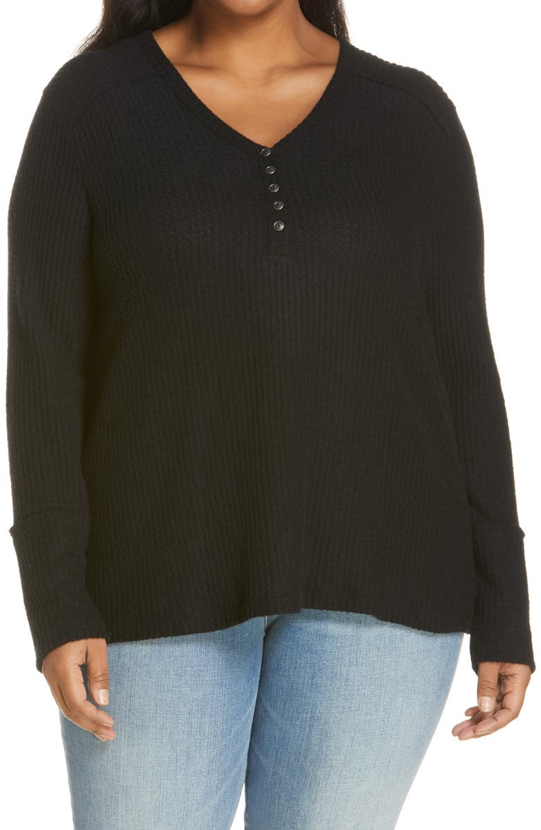 CASLON<SUP>®</SUP> High Cuff Thermal Henley Top, Main, color, BLACK