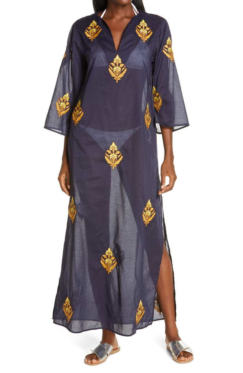 TORY BURCH Embroidered Cotton Caftan, Main, color, TORY NAVY