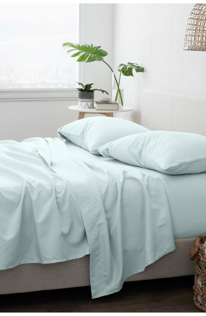 IENJOY HOME Home Spun Home Collection Premium Ultra Soft 4-Piece Solid Bed Sheet Set - Mint - Queen, Main, color, MINT