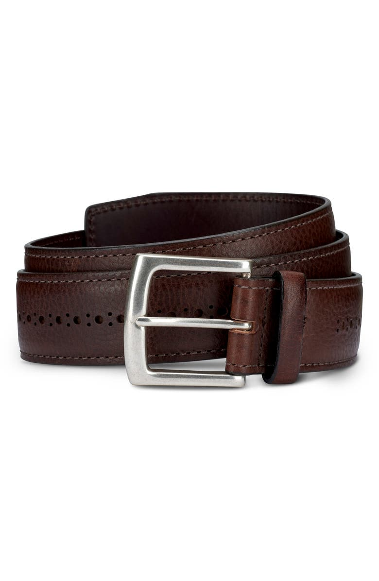 ALLEN EDMONDS Brogue Street Leather Belt, Main, color, 200