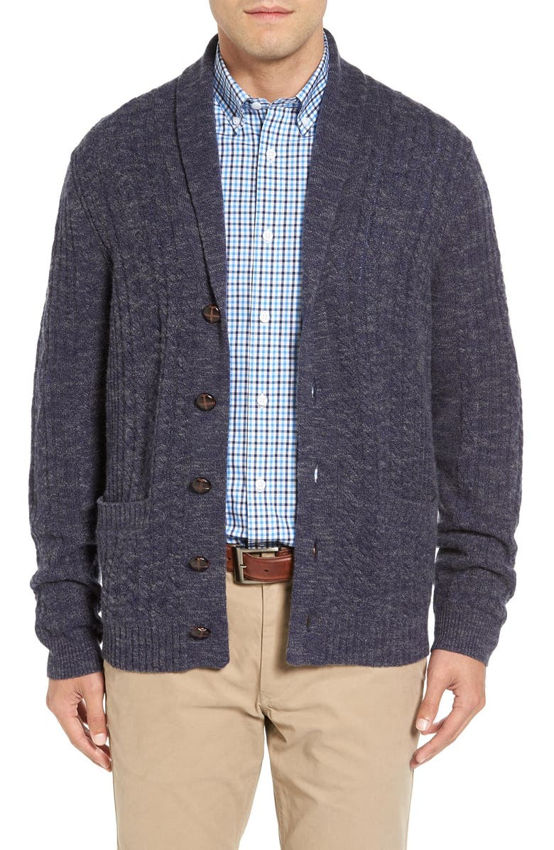 JOHN W. NORDSTROM<SUP>®</SUP> Cable Knit Shawl Collar Cashmere Cardigan, Main, color, 021