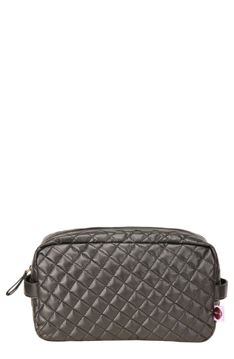STEPH&CO . 'Viveca' Quilted Black Cosmetics Case, Main, color, No Color
