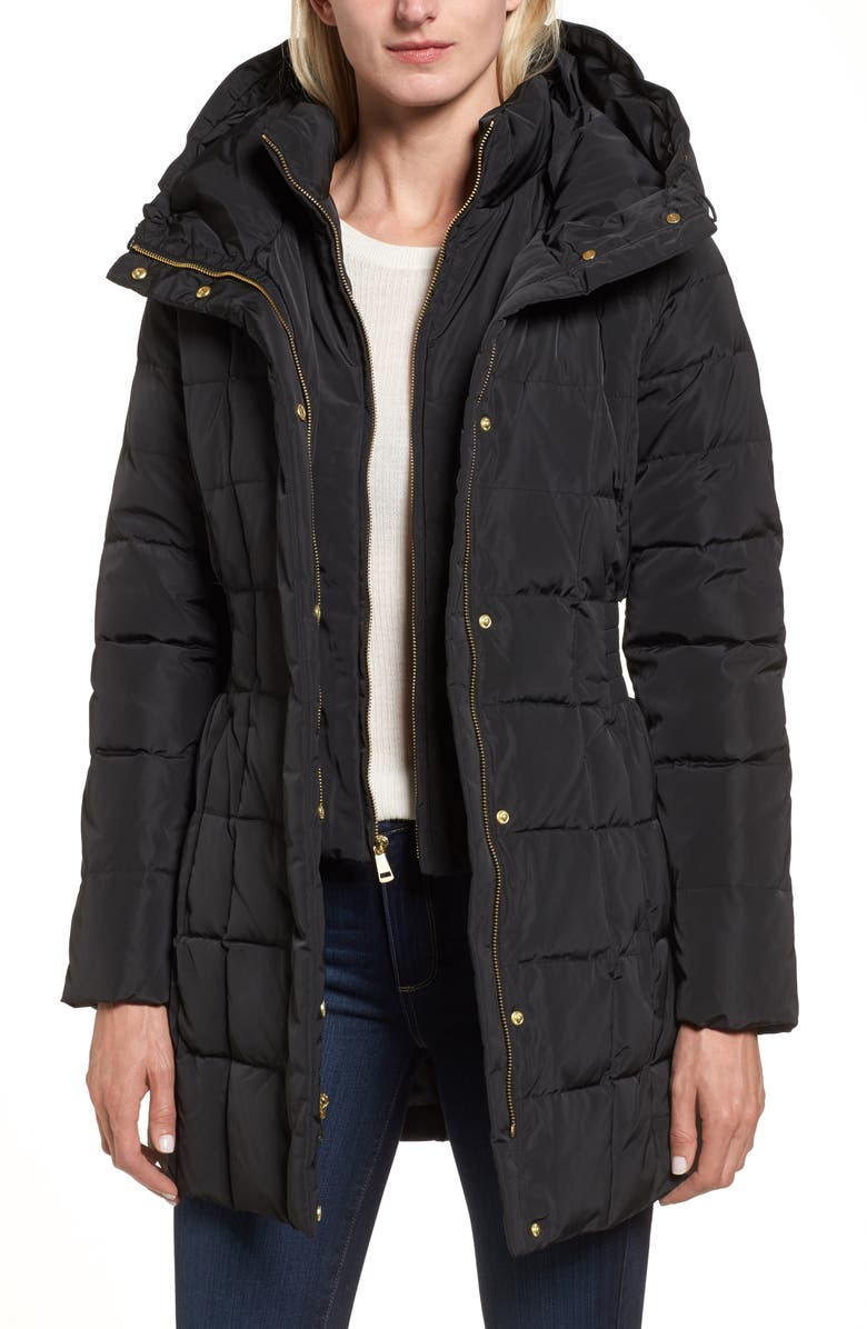 COLE HAAN SIGNATURE Cole Haan Hooded Down & Feather Jacket, Main, color, 001