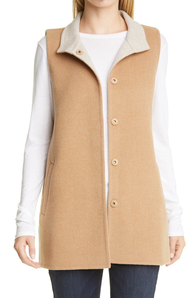 EILEEN FISHER Stand Collar Long Vest, Main, color, HONEY