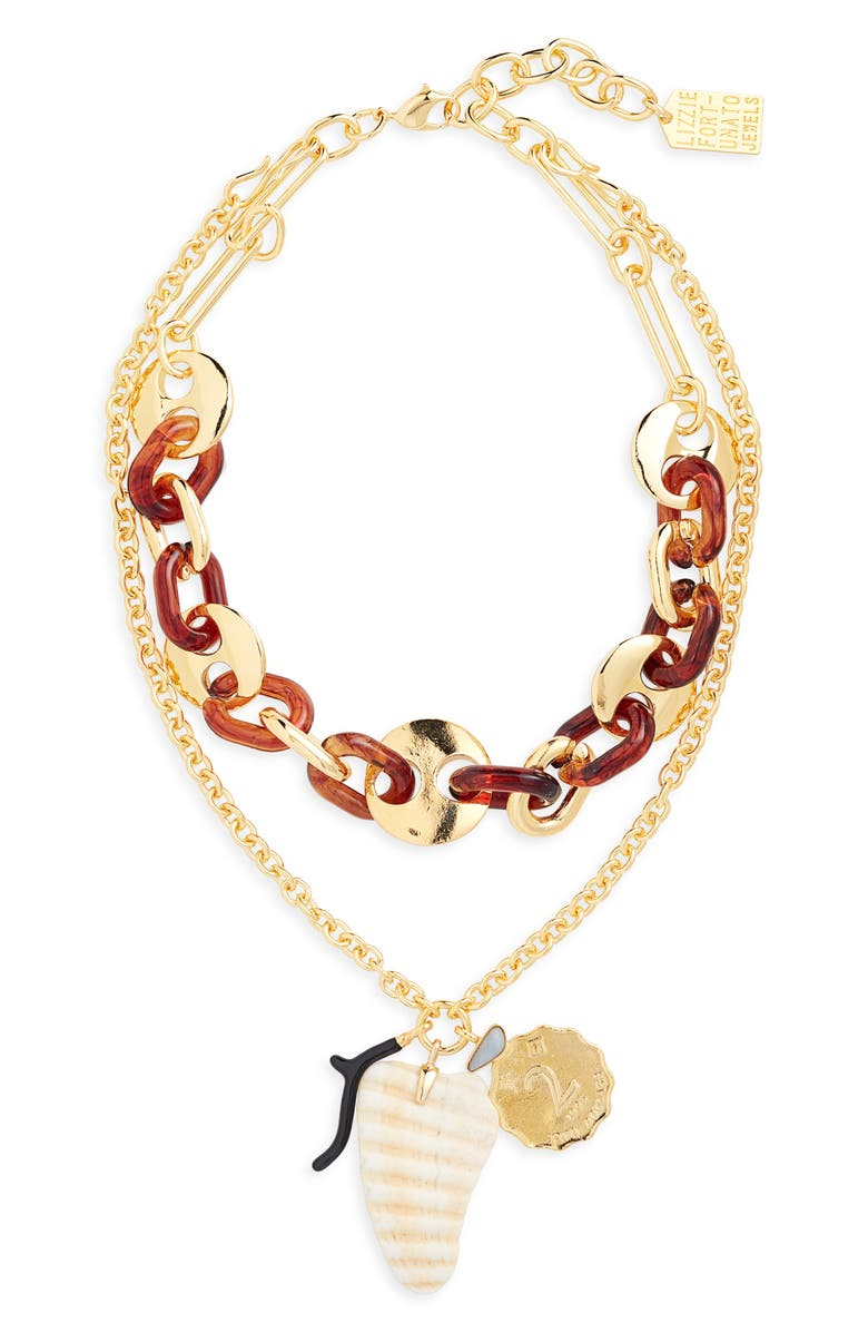 LIZZIE FORTUNATO Elba Layered Charm Necklace, Main, color, 200