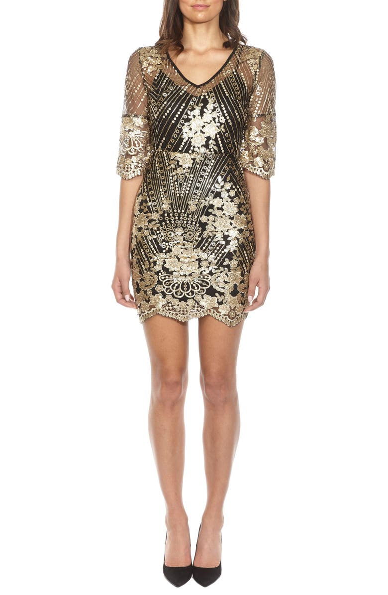 TFNC Casey Sequin Embroidered Minidress, Main, color, BLACK GOLD
