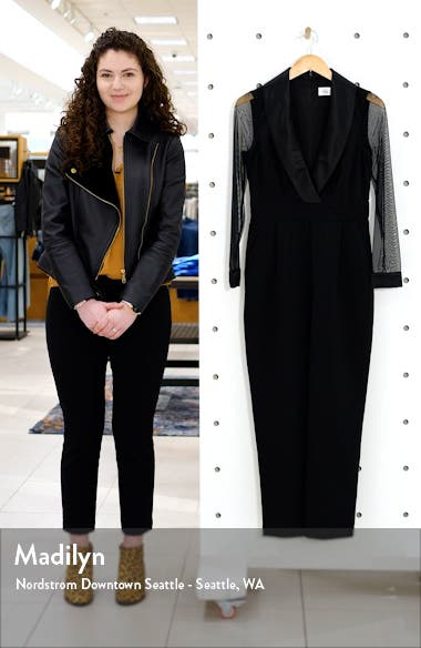 Long Sleeve Shawl Collar Tuxedo Jumpsuit, sales video thumbnail