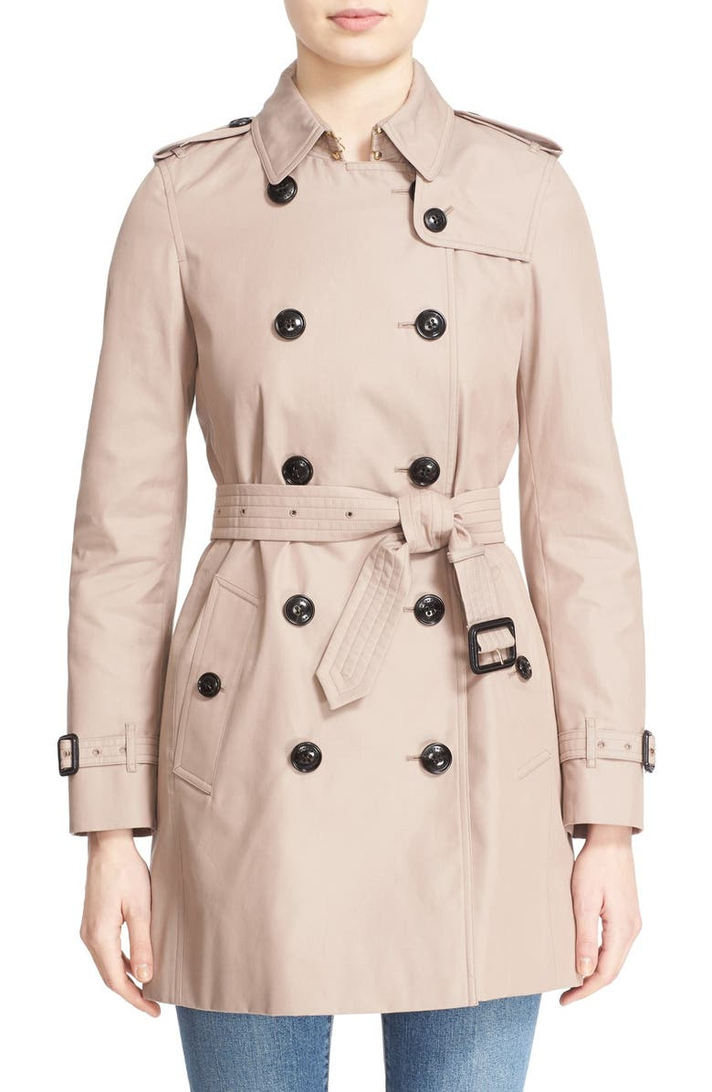 BURBERRY LONDON 'Kensington' Belted Double Breasted Trench Coat, Main, color, 250