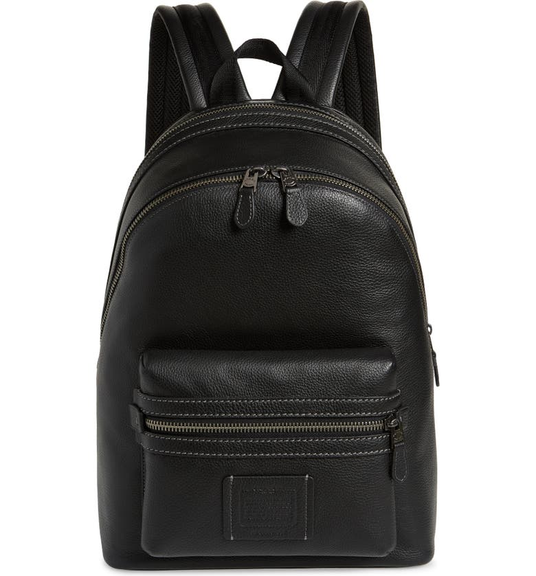 COACH Academy Leather Backpack, Main, color, BLACK