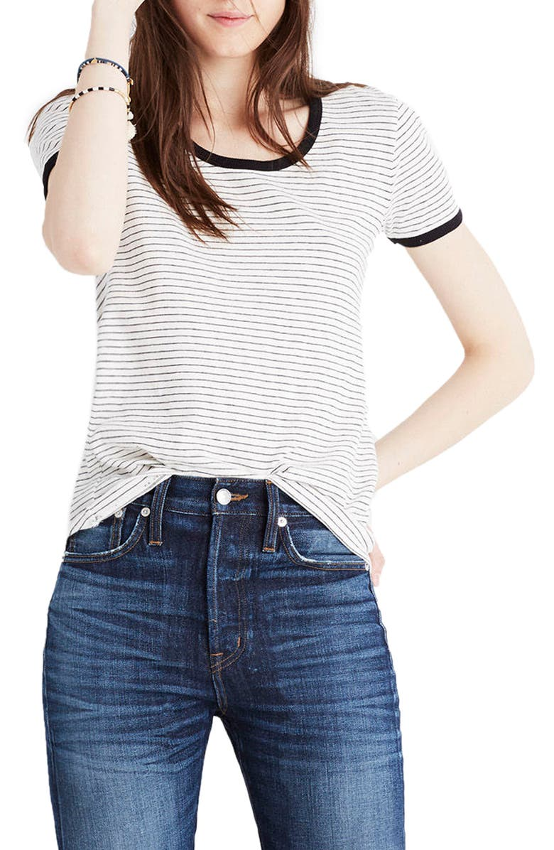 MADEWELL Stripe Recycled Cotton Ringer Tee, Main, color, 900
