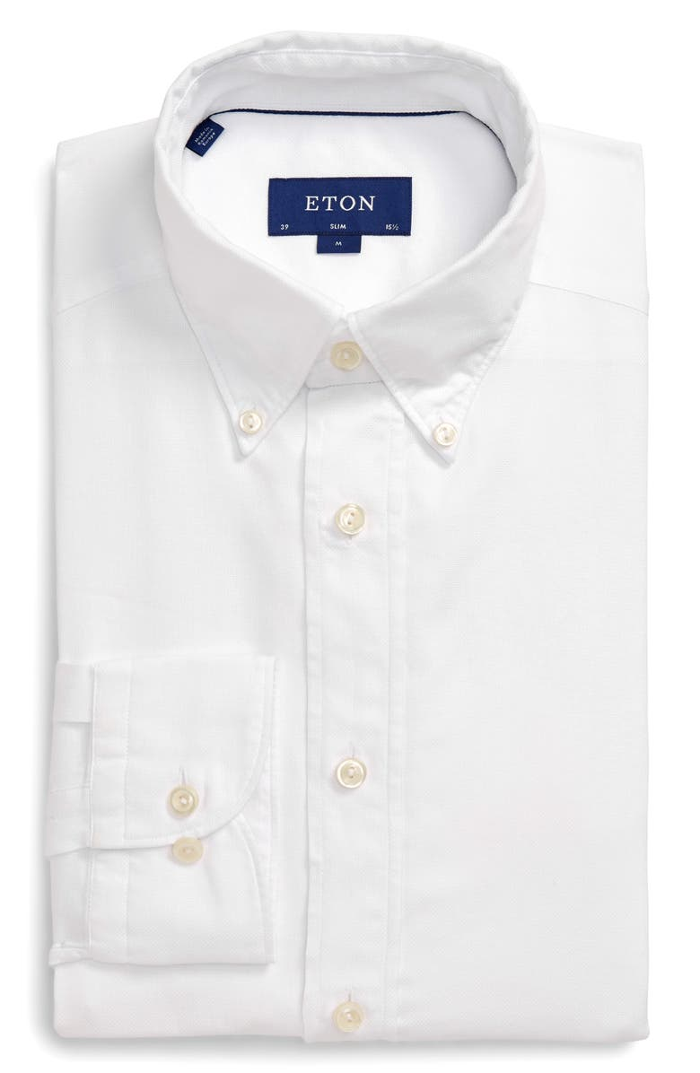 ETON Soft Casual Line Slim Fit Oxford Shirt, Main, color, WHITE