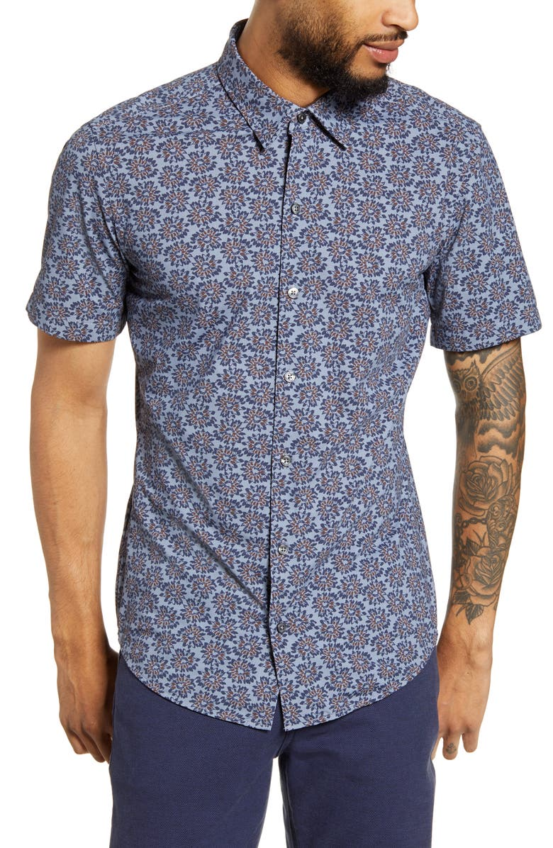 BOSS Robb Sharp Fit Floral Stretch Short Sleeve Button-Up Shirt, Main, color, BLUE