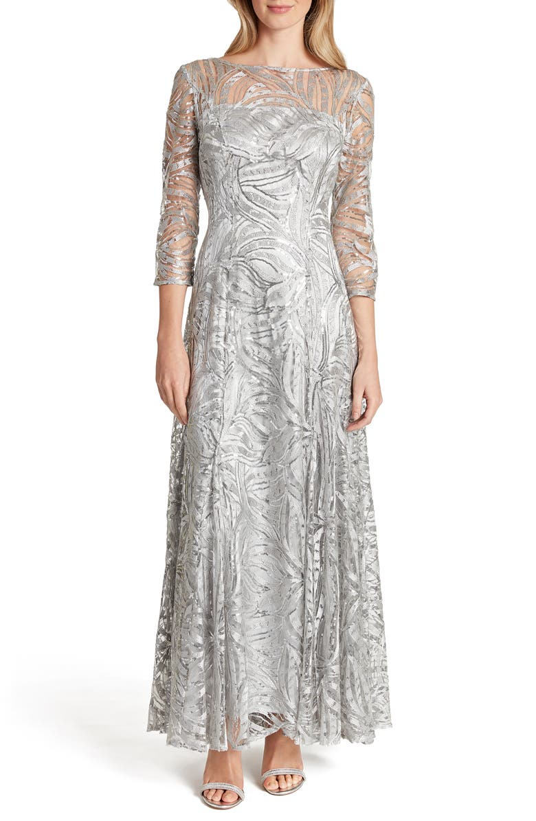 TAHARI Embroidered Sequin A-Line Gown, Main, color, 050