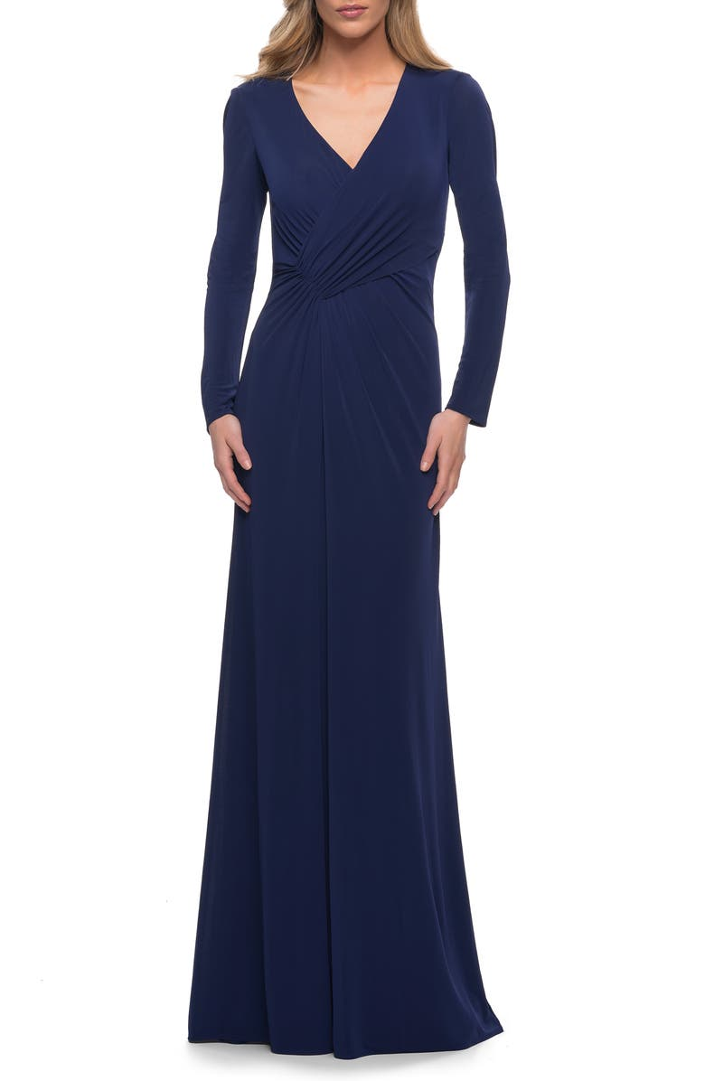LA FEMME Ruched Long Sleeve Jersey Sheath Gown, Main, color, NAVY