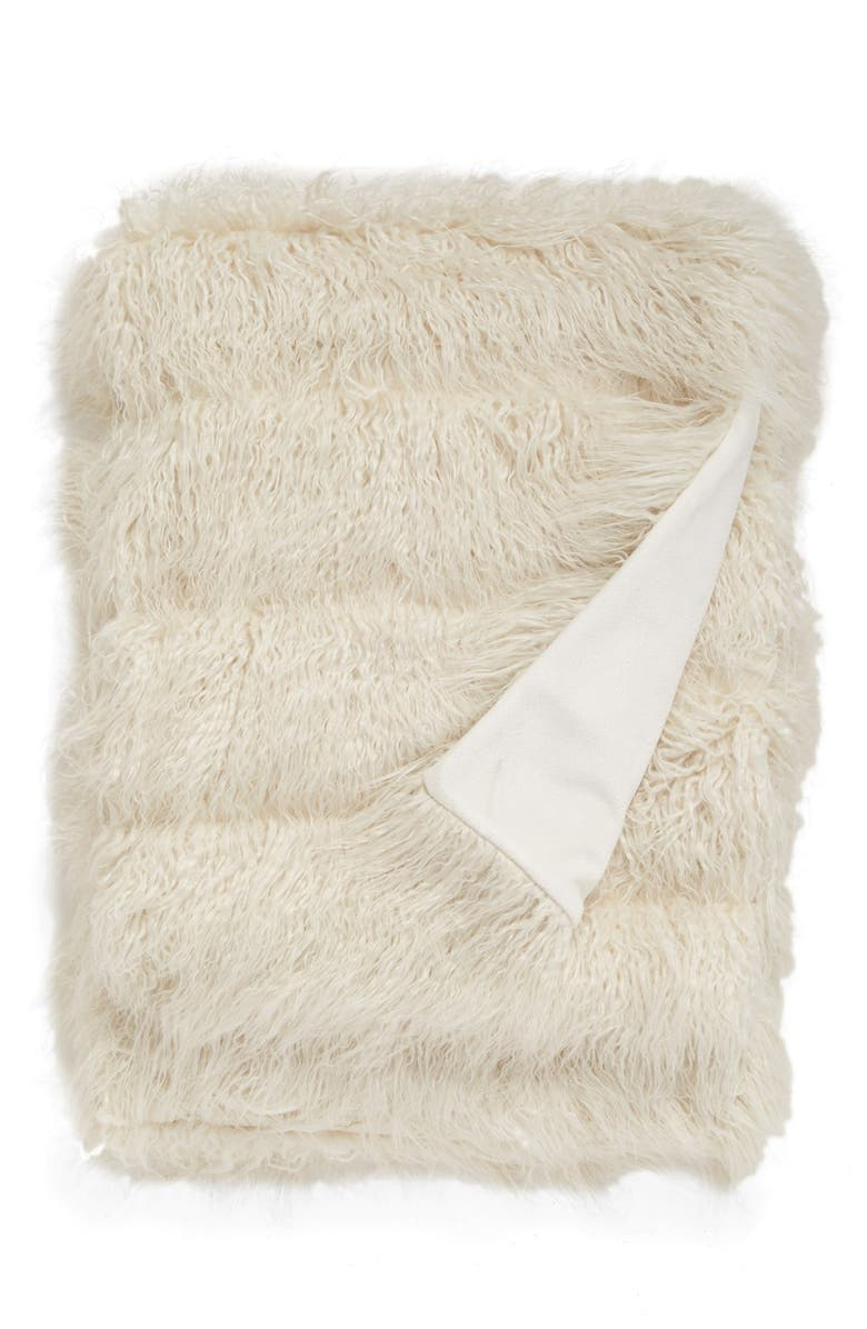 NORDSTROM at Home Mongolian Faux Fur Throw, Main, color, IVORY