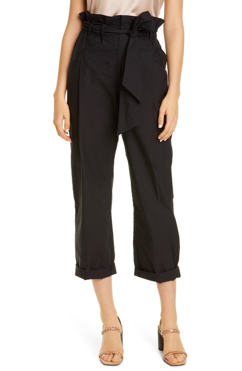 BRUNELLO CUCINELLI Paperbag Waist Crinkled Cotton Blend Ankle Pants, Main, color, 001