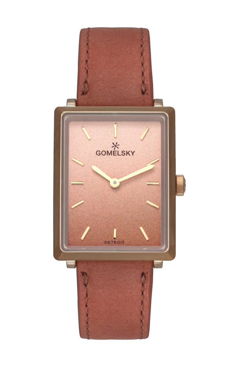 GOMELSKY BY SHINOLA Women's Shirley Fromer Leather Strap Watch, 32mm x 25mm, Main, color, PINK