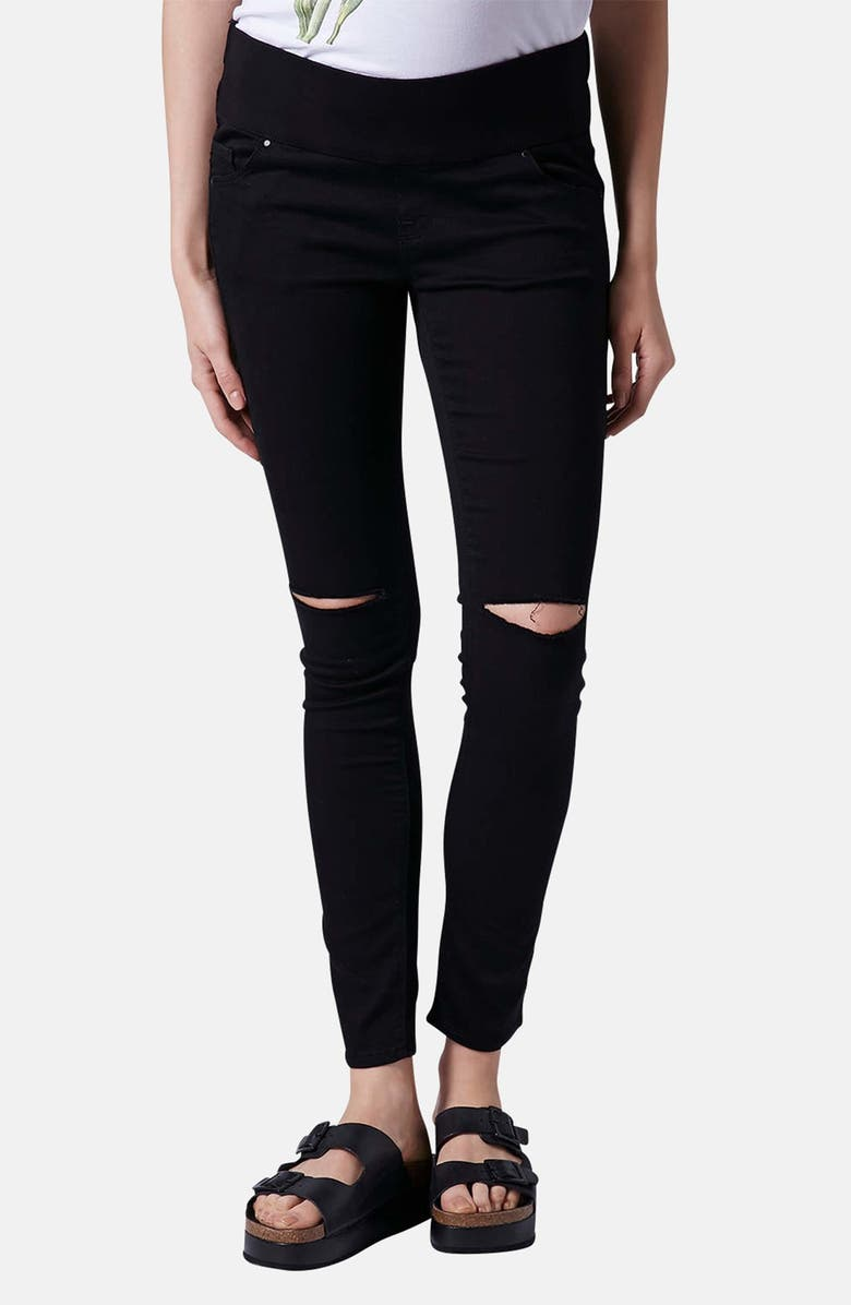 TOPSHOP Moto 'Leigh' Ripped Maternity Jeans, Main, color, 001