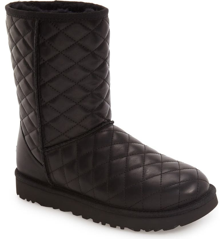 UGG<SUP>®</SUP> Classic Short Quilted Boot, Main, color, BLACK LEATHER