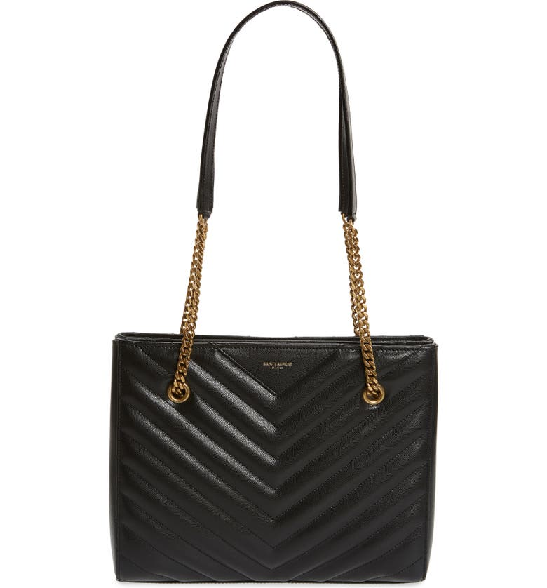 SAINT LAURENT Small Tribeca Quilted Calfskin Leather Tote, Main, color, 001