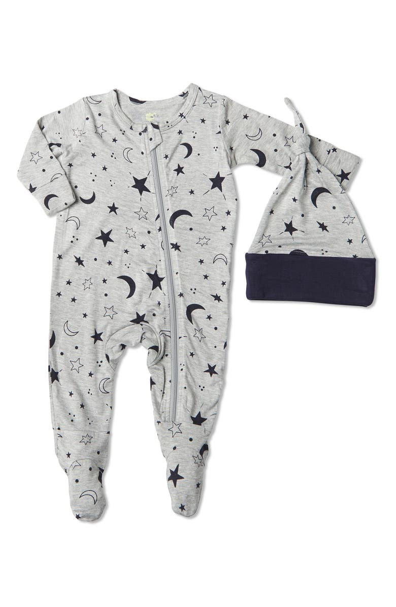 BABY GREY BY EVERLY GREY Jersey Footie & Hat Set, Main, color, TWINKLE NIGHT