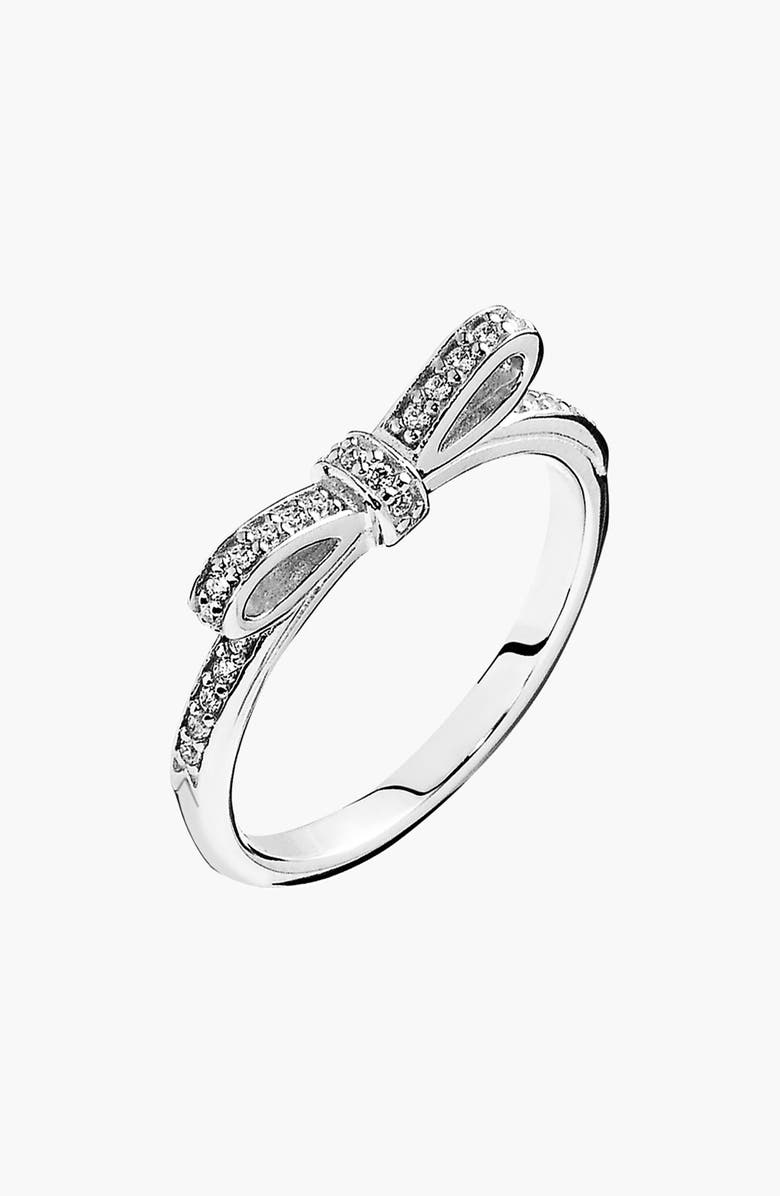 PANDORA 'Sparkling Bow' Ring, Main, color, STERLING SILVER/ CLEAR CZ
