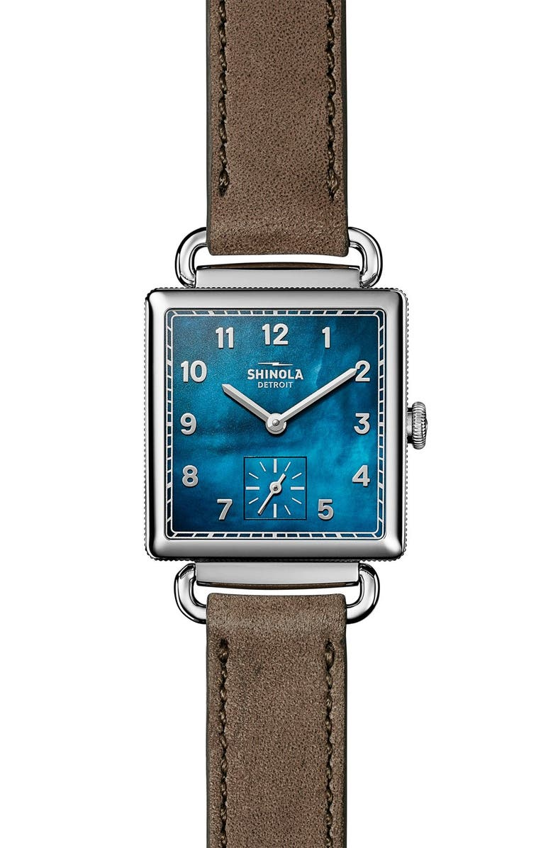 SHINOLA Cass Leather Strap Watch, 28mm, Main, color, 000