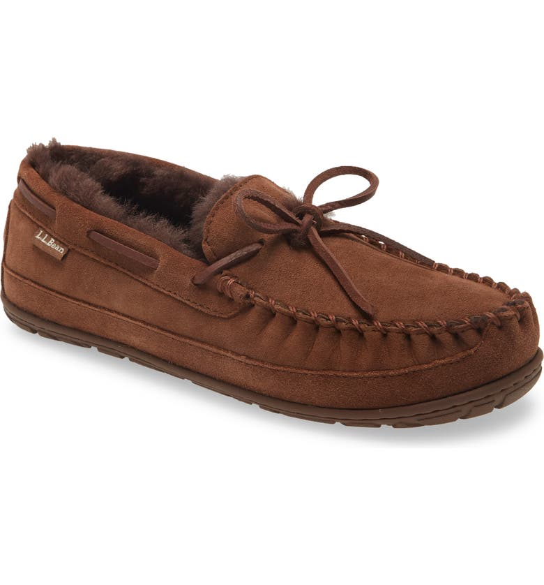L.L.BEAN Wicked Good Moccasin Slipper, Main, color, CHOCOLATE