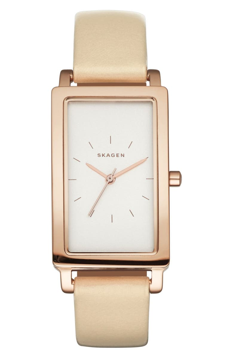 SKAGEN 'Hagen' Rectangle Leather Strap Watch, 22mm x 35mm, Main, color, TAUPE/ CHARCOAL/ ROSE GOLD