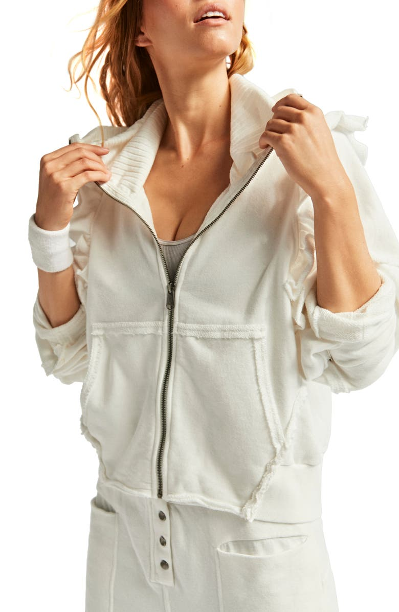 FP MOVEMENT So Cool Ruffle Zip Jacket, Main, color, WHITE