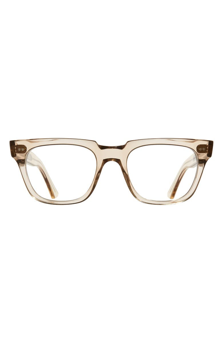 CUTLER AND GROSS 53mm Rectangle Blue Light Blocking Glasses, Main, color, GRANNY CHICK/ BLUE LIGHT