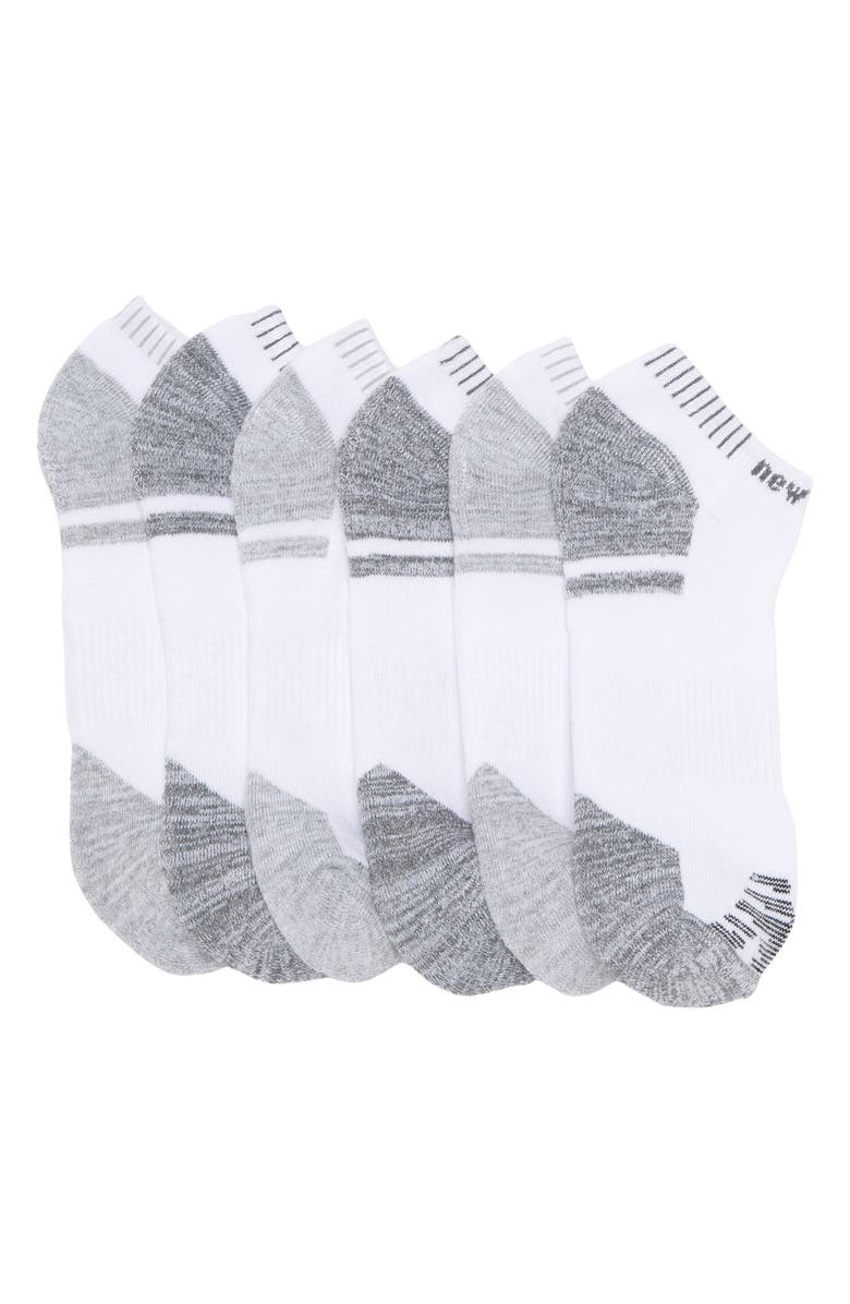 NEW BALANCE Low Cut Socks - Pack of 6, Main, color, WHITE