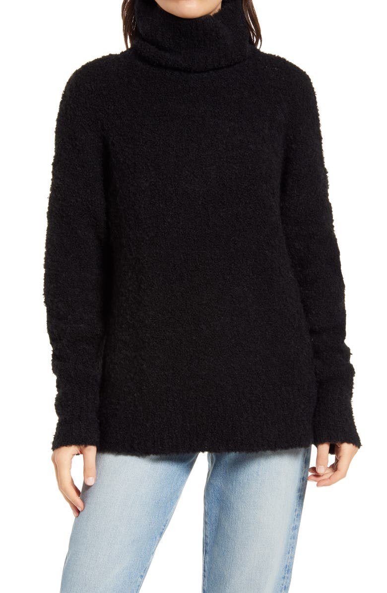 TREASURE & BOND Bouclé Funnel Neck Pullover, Main, color, 001