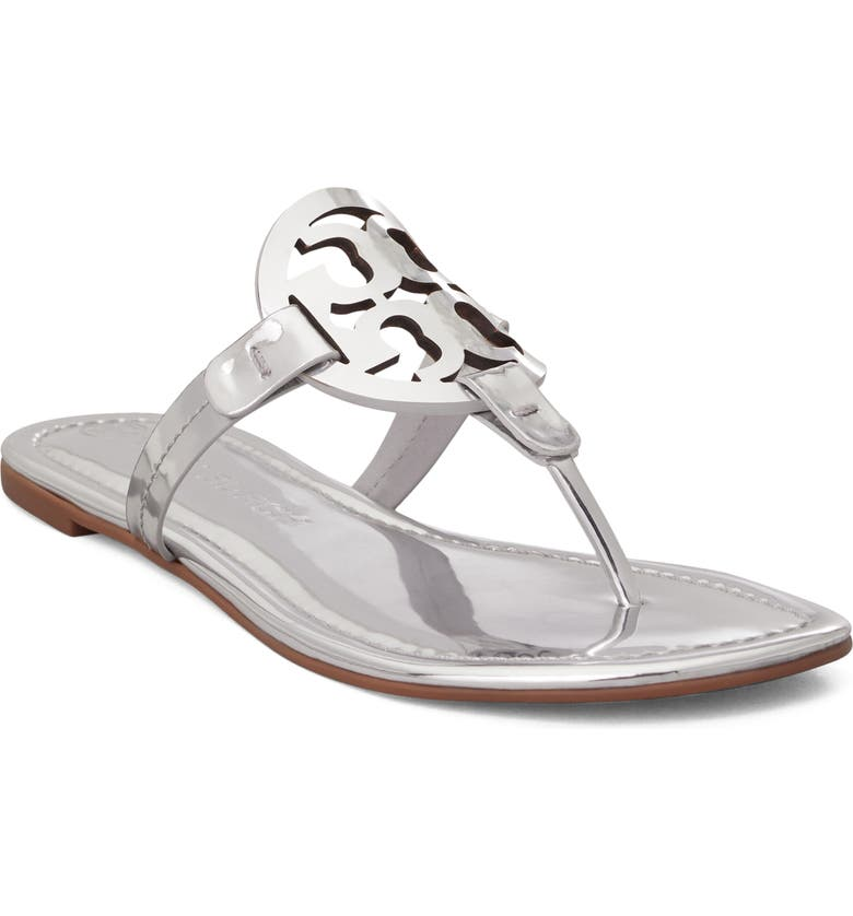 TORY BURCH Miller Flip Flop, Main, color, METALLIC SILVER