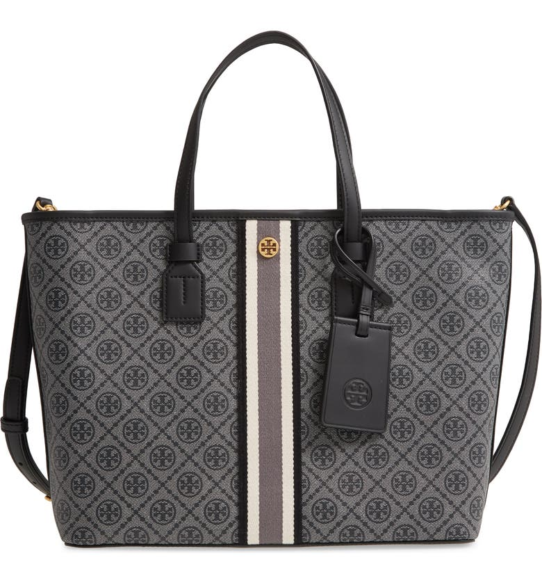 TORY BURCH Monogram Small Coated Canvas Tote, Main, color, BLACK
