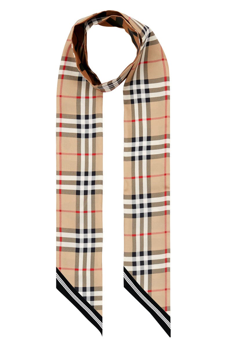 BURBERRY Vintage Check Mulberry Silk Skinny Scarf, Main, color, ARCHIVE BEIGE