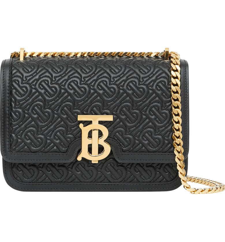 BURBERRY Small TB Monogram Quilted Lambskin Bag, Main, color, BLACK