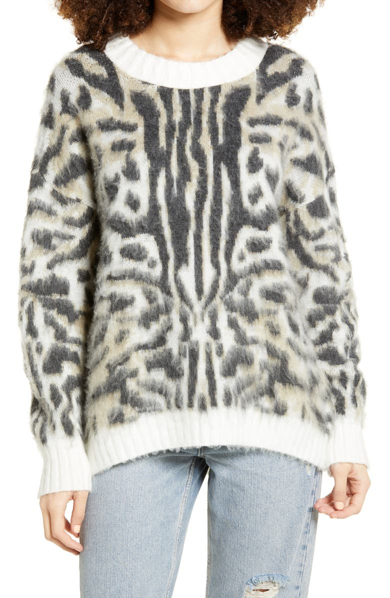 BP. Oversize Brushed Pullover, Main, color, IVORY ABSTRACT ANIMAL