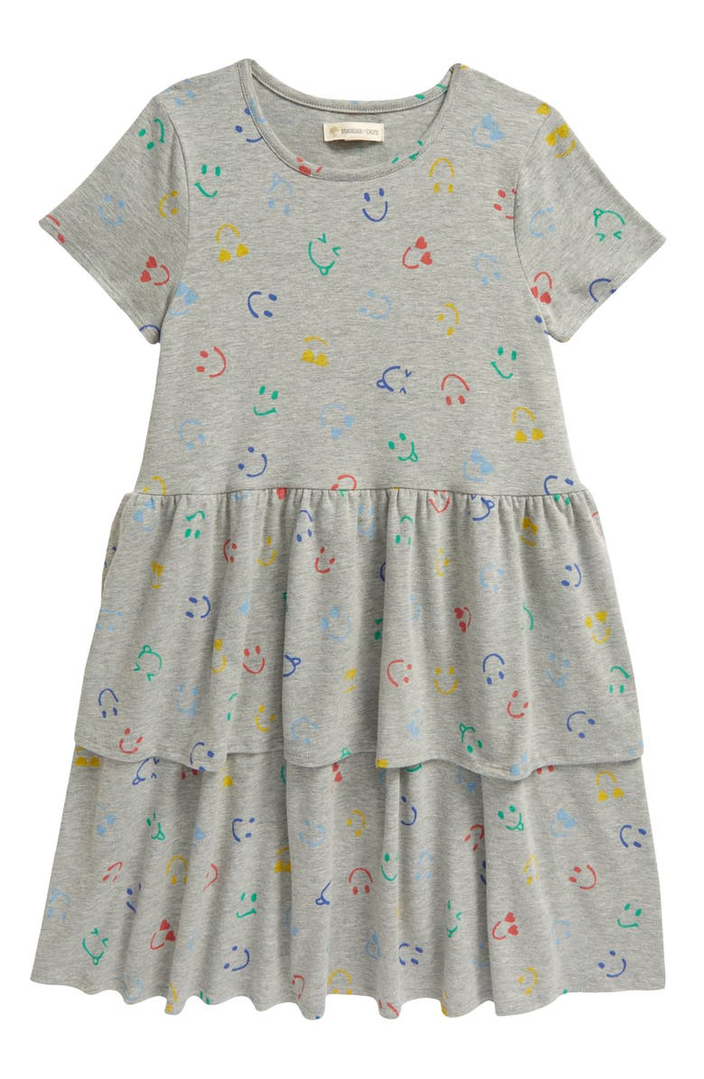 TUCKER + TATE Kids' Polka Dot Tier Dress, Main, color, GREY MD HEATHER SMILEY FACES