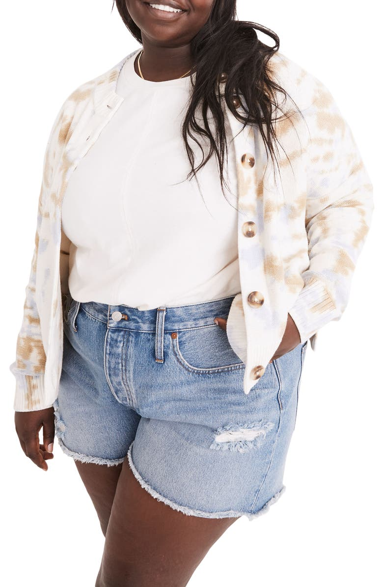 MADEWELL Tie Dye Broadway Cardigan Sweater, Main, color, BRIGHT IVORY