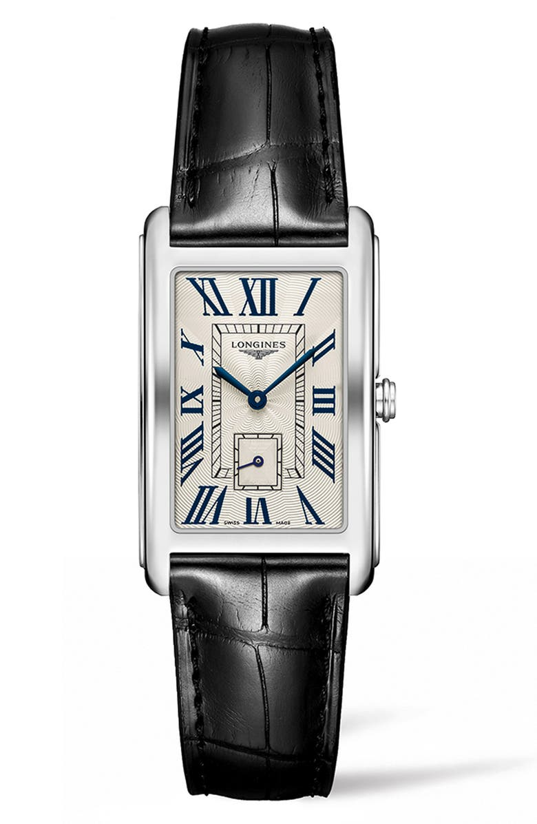 LONGINES DolceVita Leather Strap Watch, 25.8mm x 42mm, Main, color, 001