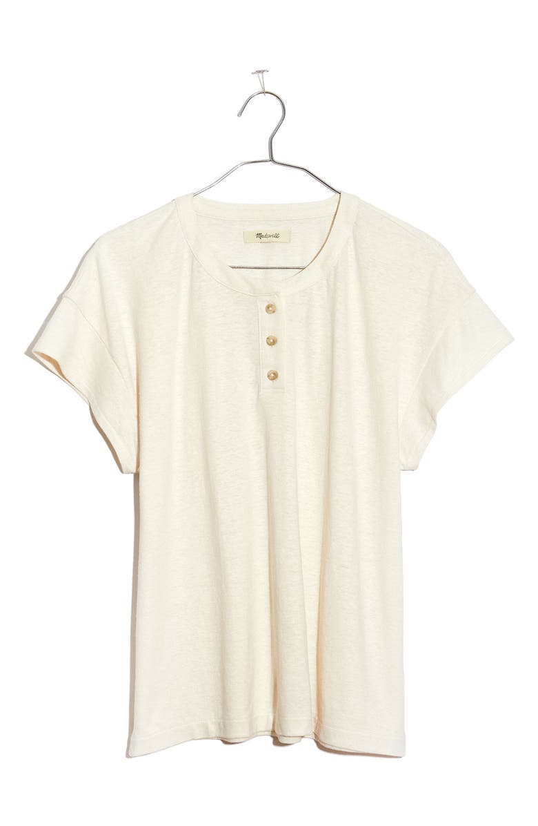 MADEWELL Brother Hemp & Cotton Henley T-Shirt, Main, color, PEARL IVORY
