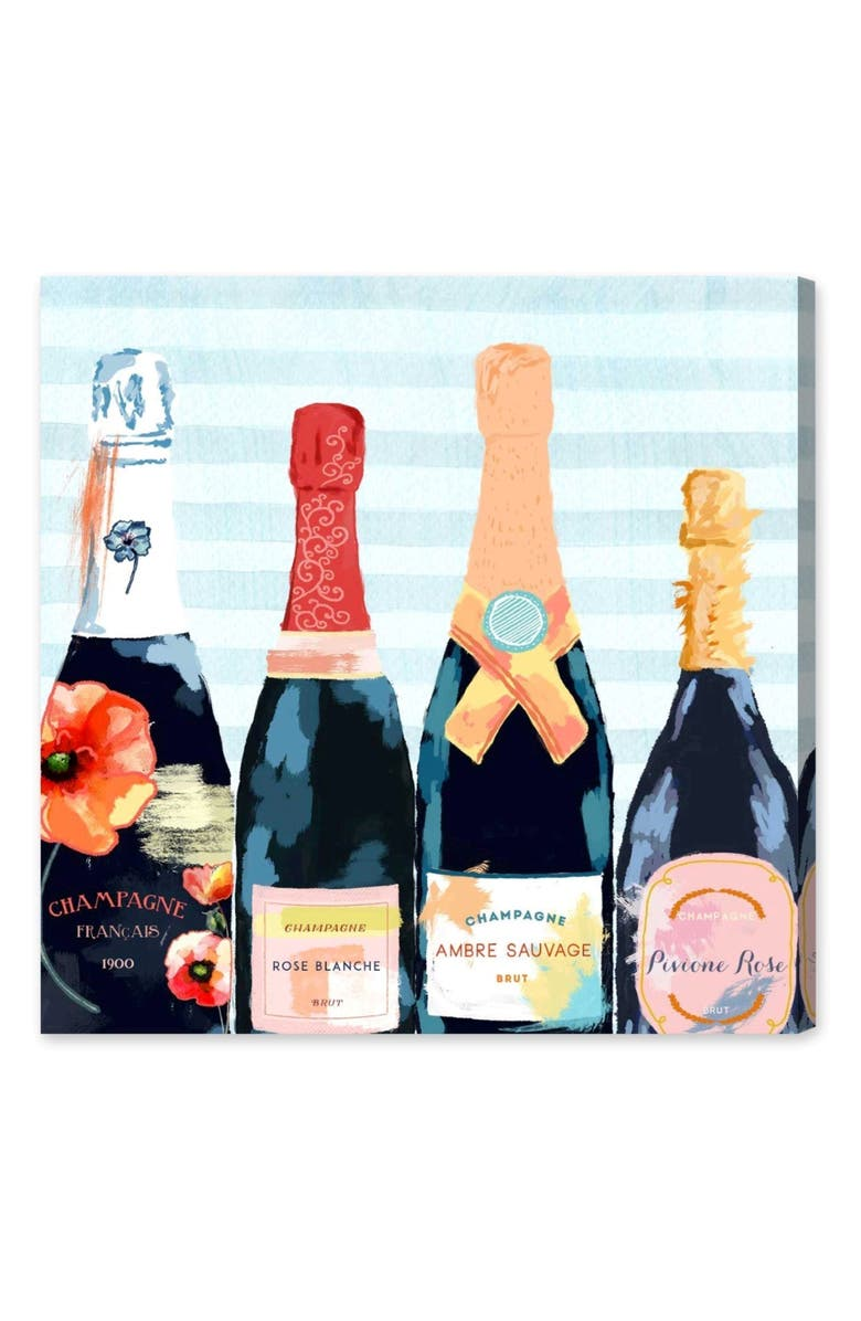 OLIVER GAL Champagne Flower Canvas Wall Art, Main, color, BLUE