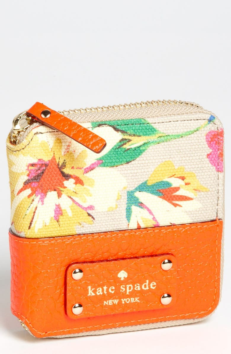 KATE SPADE NEW YORK 'grove court floral - delores' french wallet, Main, color, RED MULTI